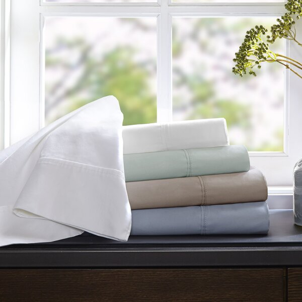 Crosby 400 Thread Count Solid 100% Cotton Sheet Set by Alcott Hill